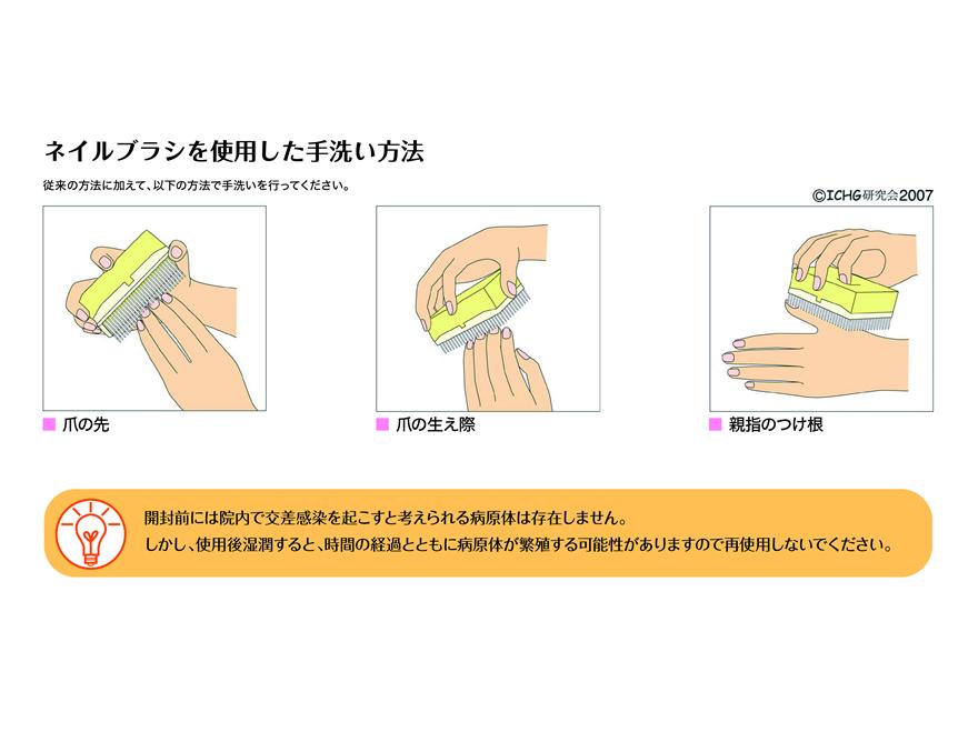 ネイルブラシを使用した手洗い方法